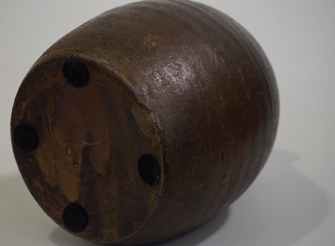 Brown Salt Glazed Antique Ceramic Ovoid Jug Stoneware - 9