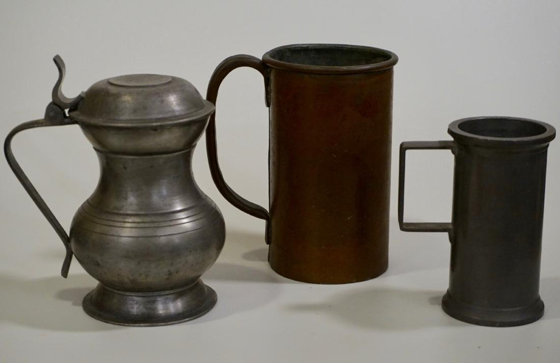 Pewter Stein Antique Brass Tankard Mugs Lot of 3