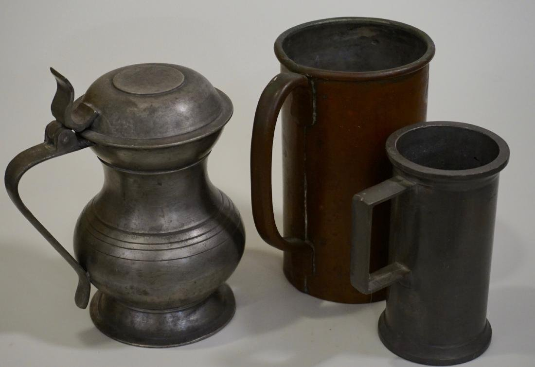 Pewter Stein Antique Brass Tankard Mugs Lot of 3 - 2
