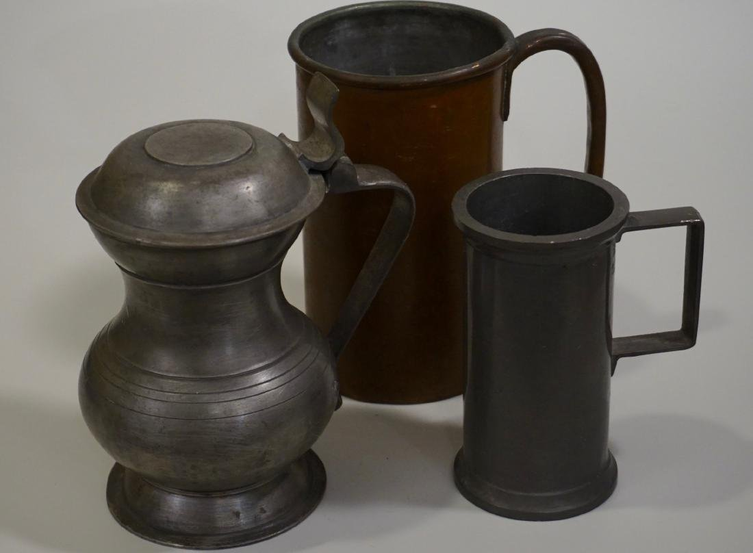 Pewter Stein Antique Brass Tankard Mugs Lot of 3 - 3