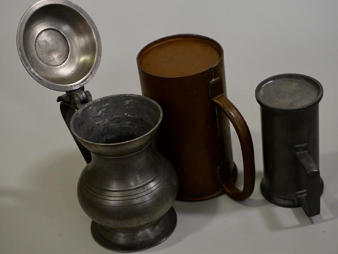 Pewter Stein Antique Brass Tankard Mugs Lot of 3 - 5