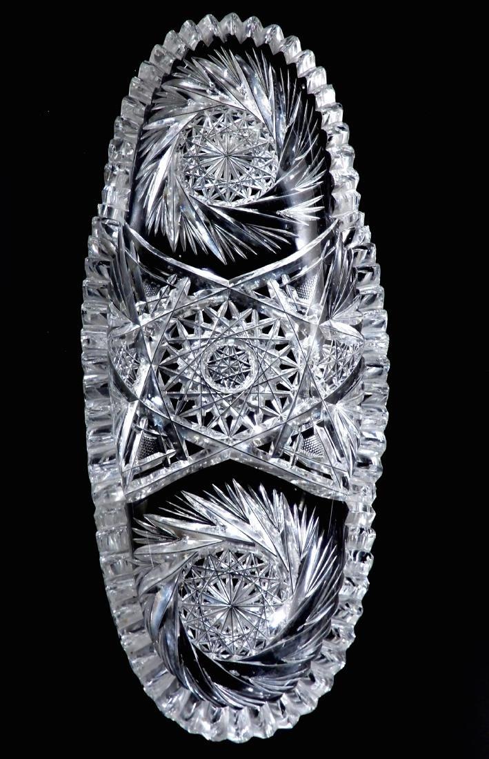 American Brilliant Period Pinwheel Cut Crystal Tray - 7