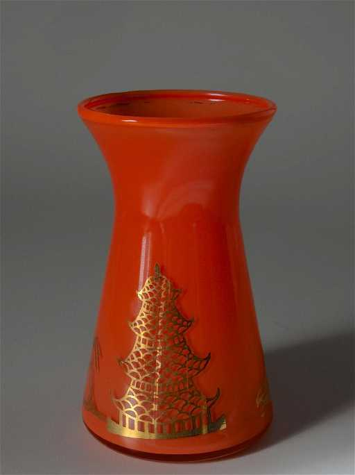 Art Deco Vintage Czech Bohemian Orange Glass Vase