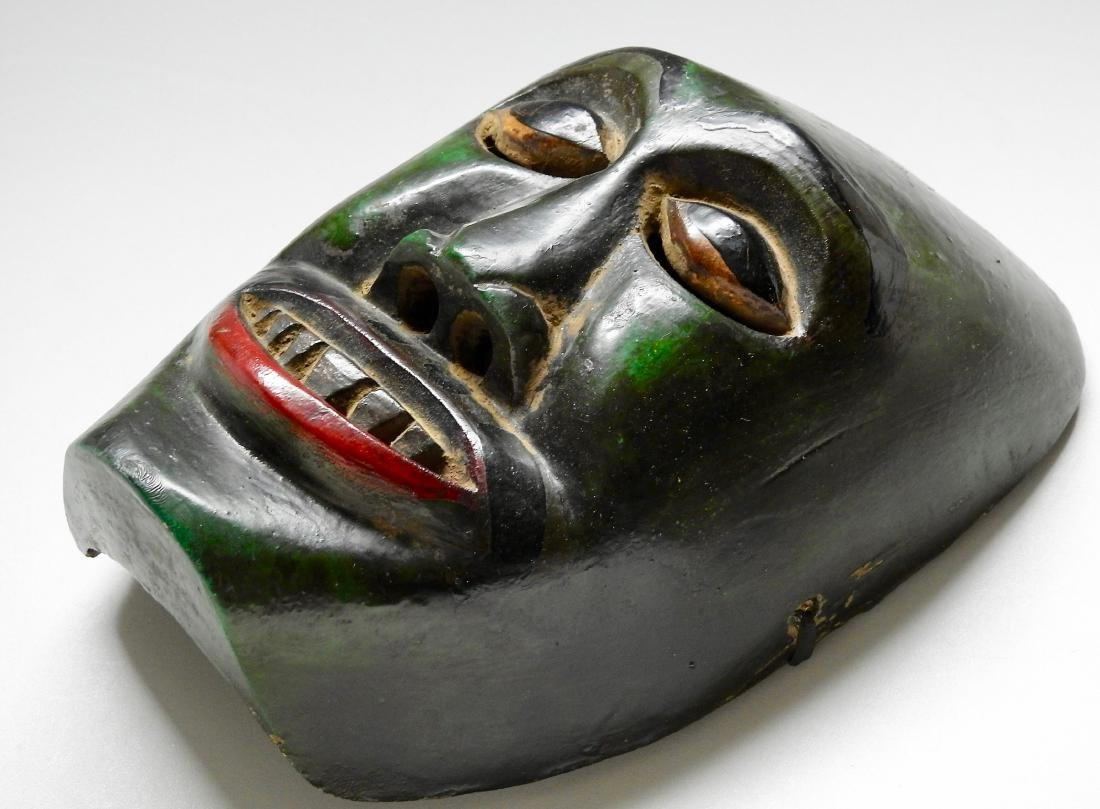 Vintage African Green Painted Carved Wood Mask Plaque