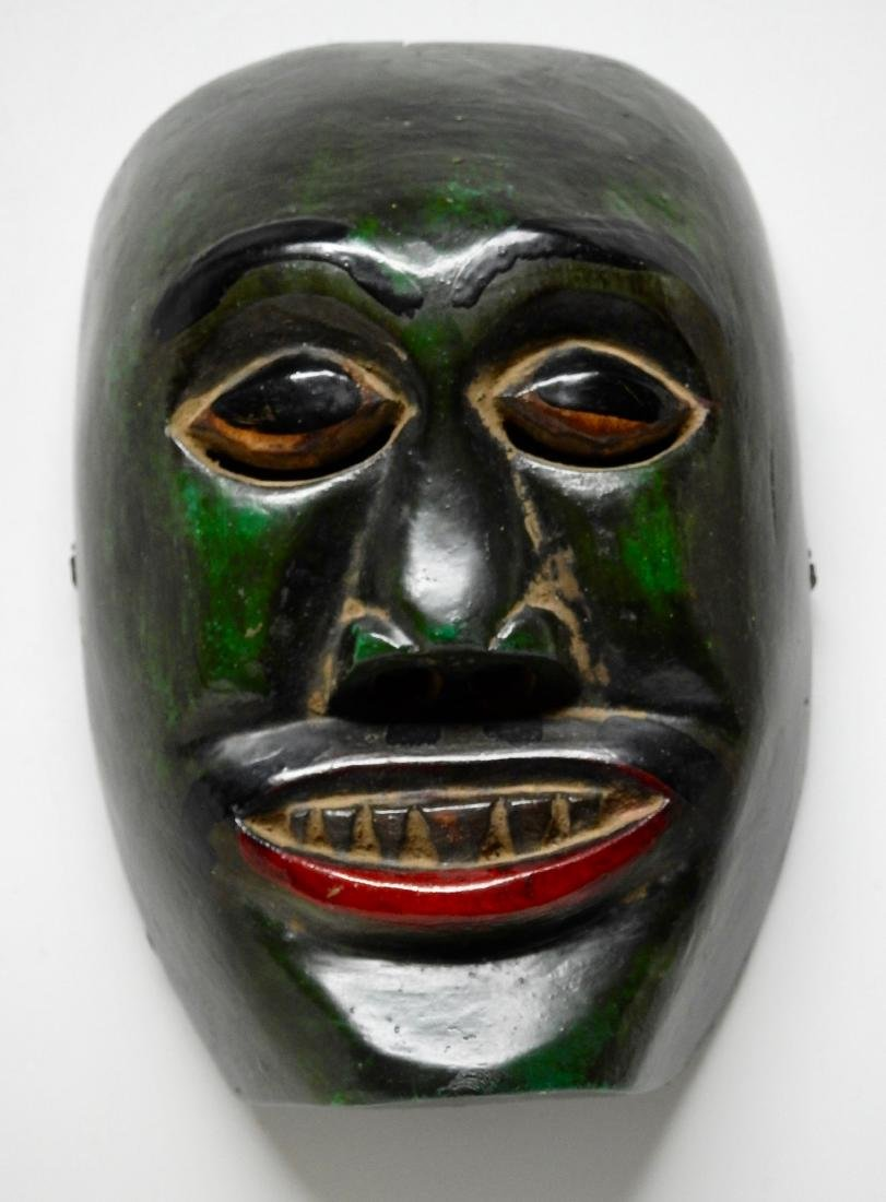 Vintage African Green Painted Carved Wood Mask Plaque - 2