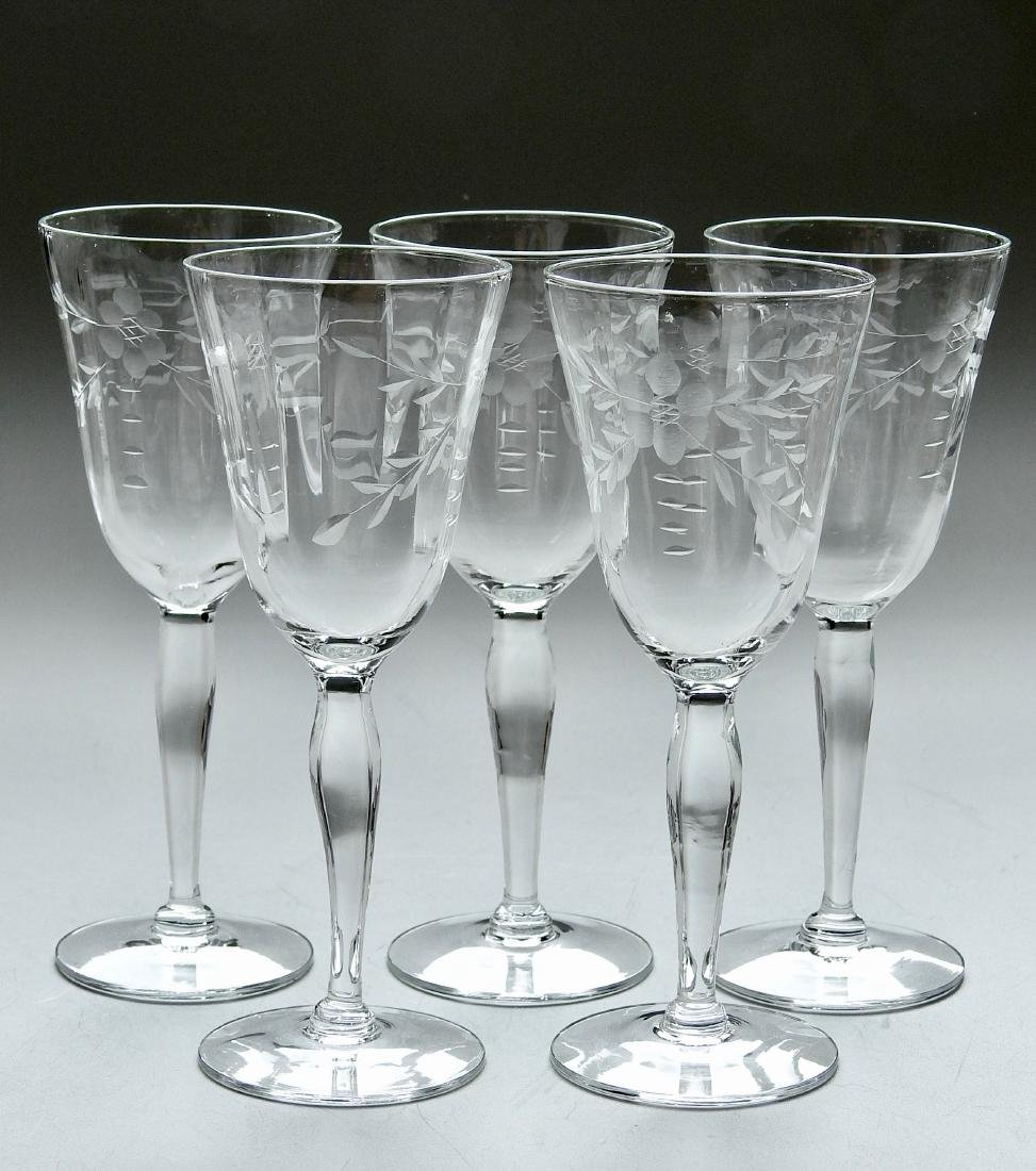 Vintage Art Deco Period Cut Glass Stemware Lot of 5