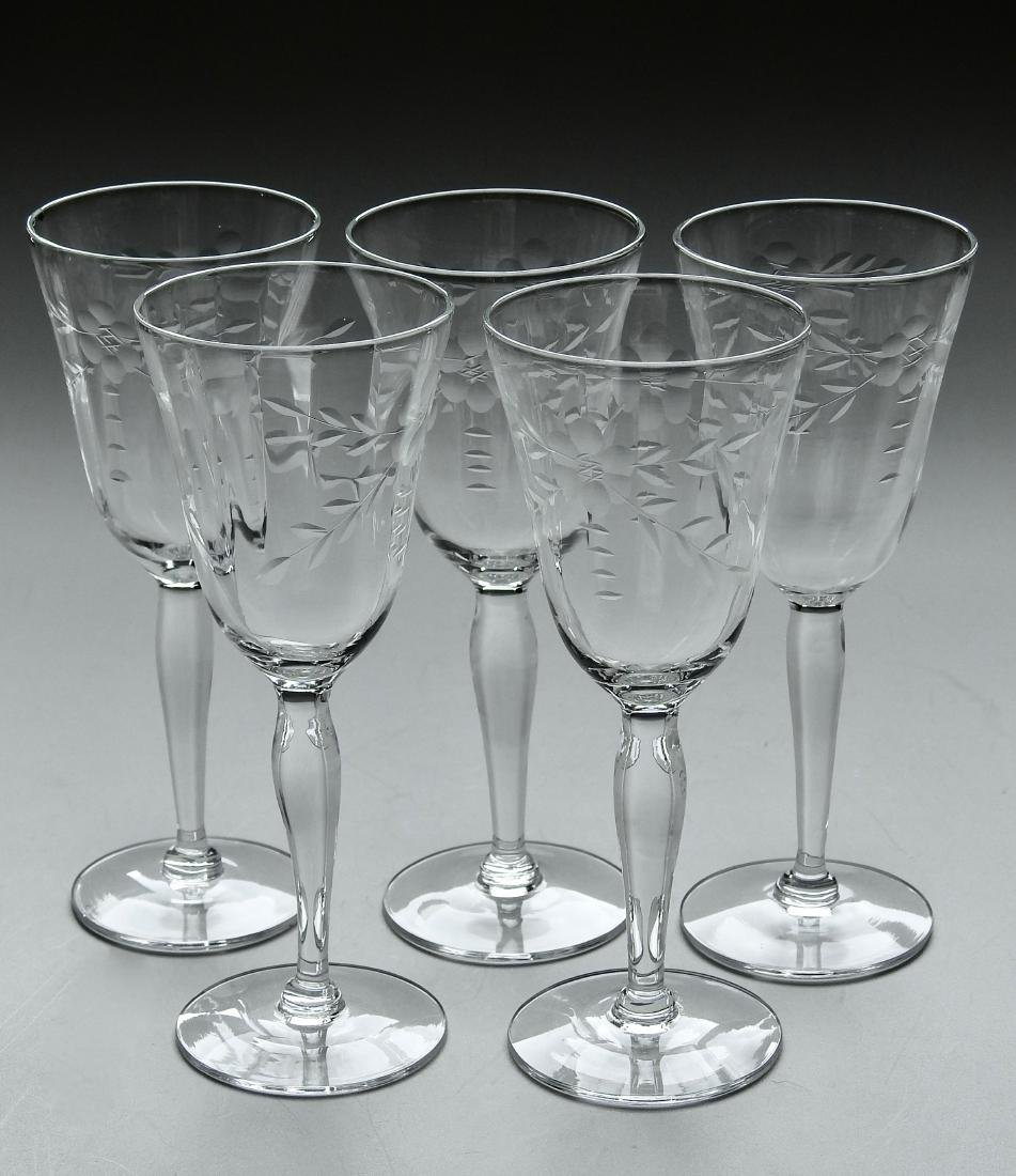 Vintage Art Deco Period Cut Glass Stemware Lot of 5 - 2