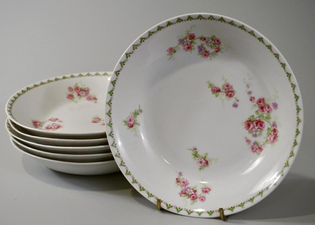 Antique French Porcelain Limoges Soup Bowls Plate Set