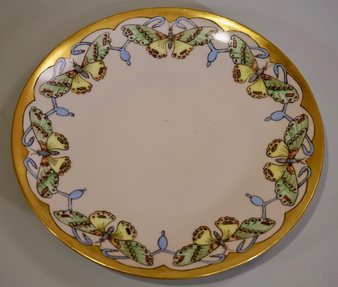 Antique Butterfly Hand Painted Porcelain Plate c1900