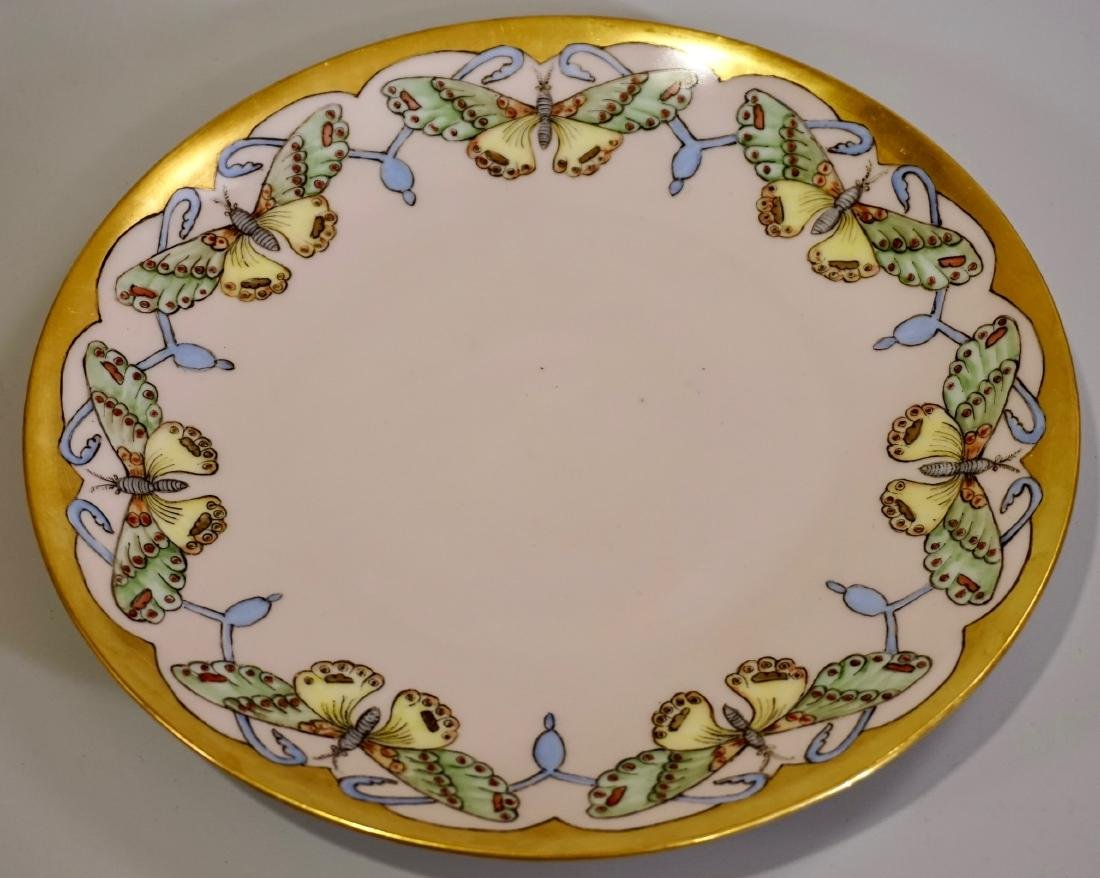 Antique Butterfly Hand Painted Porcelain Plate c1900 - 2