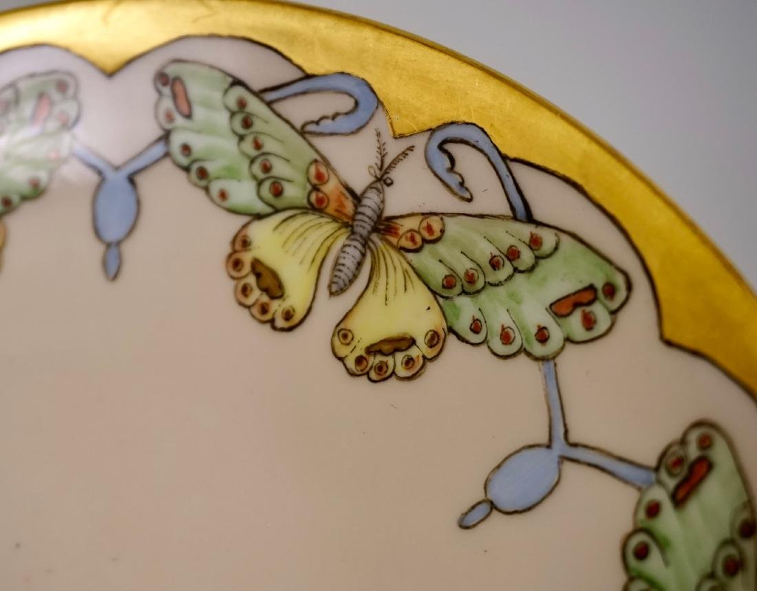 Antique Butterfly Hand Painted Porcelain Plate c1900 - 3