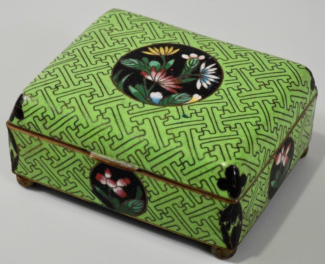 Chinese Green Cloisonne Enamel Hinged Trinket Box