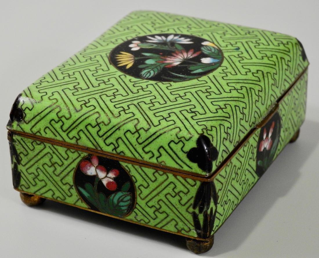 Chinese Green Cloisonne Enamel Hinged Trinket Box - 2