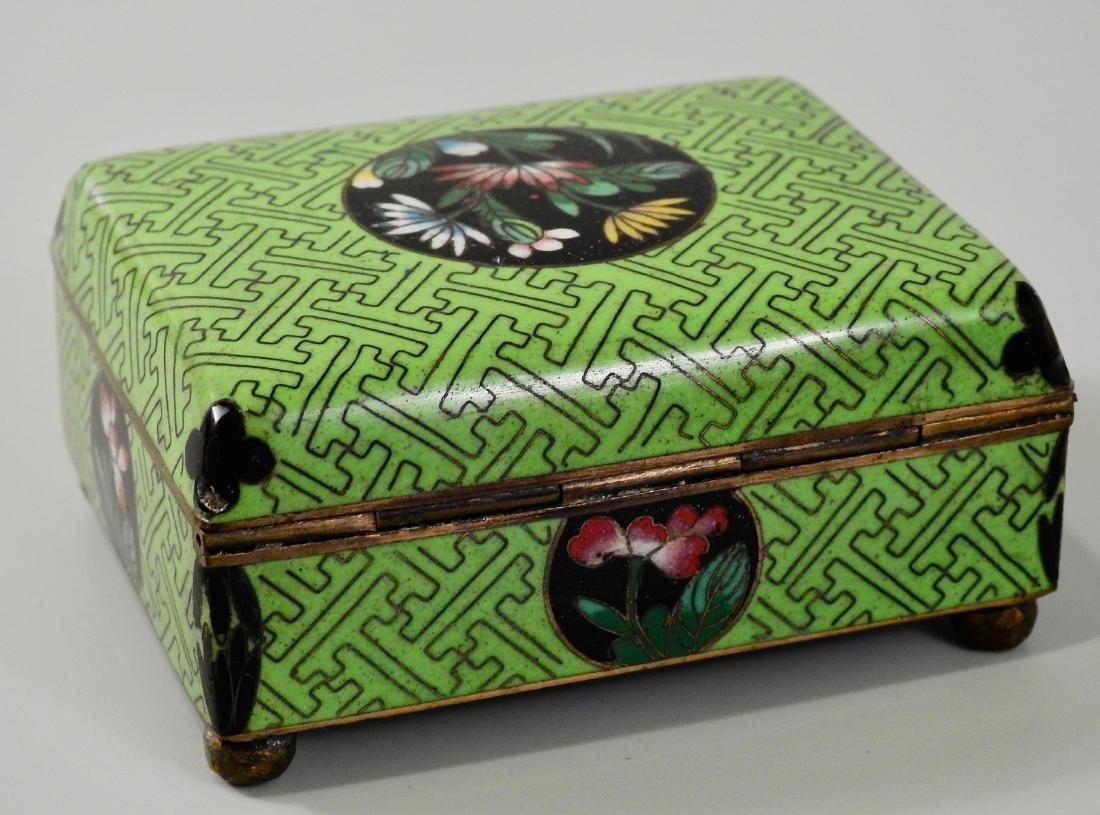 Chinese Green Cloisonne Enamel Hinged Trinket Box - 3
