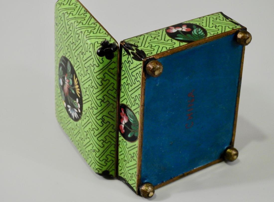 Chinese Green Cloisonne Enamel Hinged Trinket Box - 6