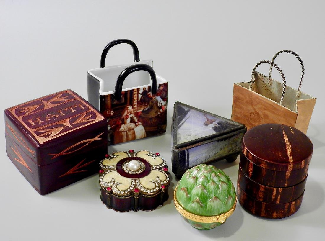 Lot of Small Souvenir Trinket Boxes and Modern Table