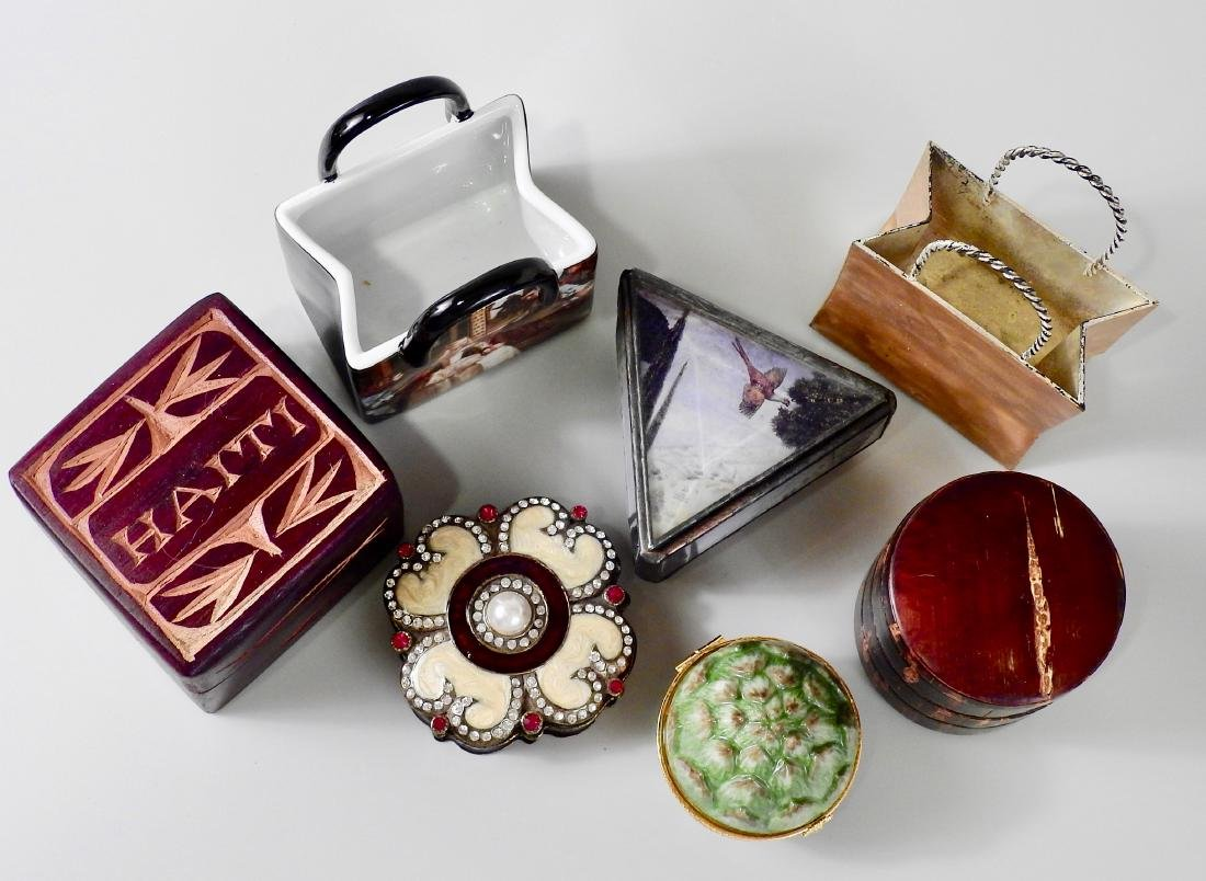 Lot of Small Souvenir Trinket Boxes and Modern Table - 2
