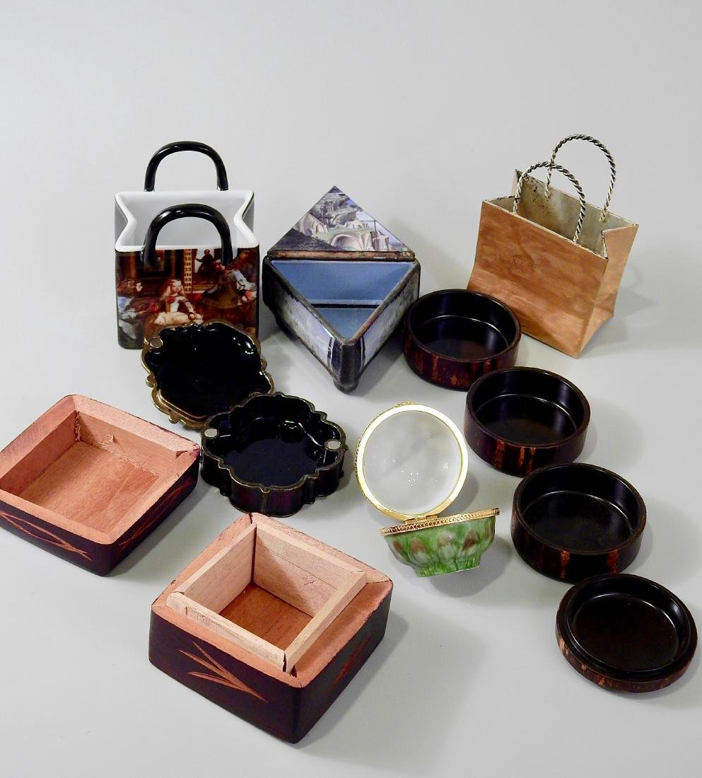Lot of Small Souvenir Trinket Boxes and Modern Table - 3