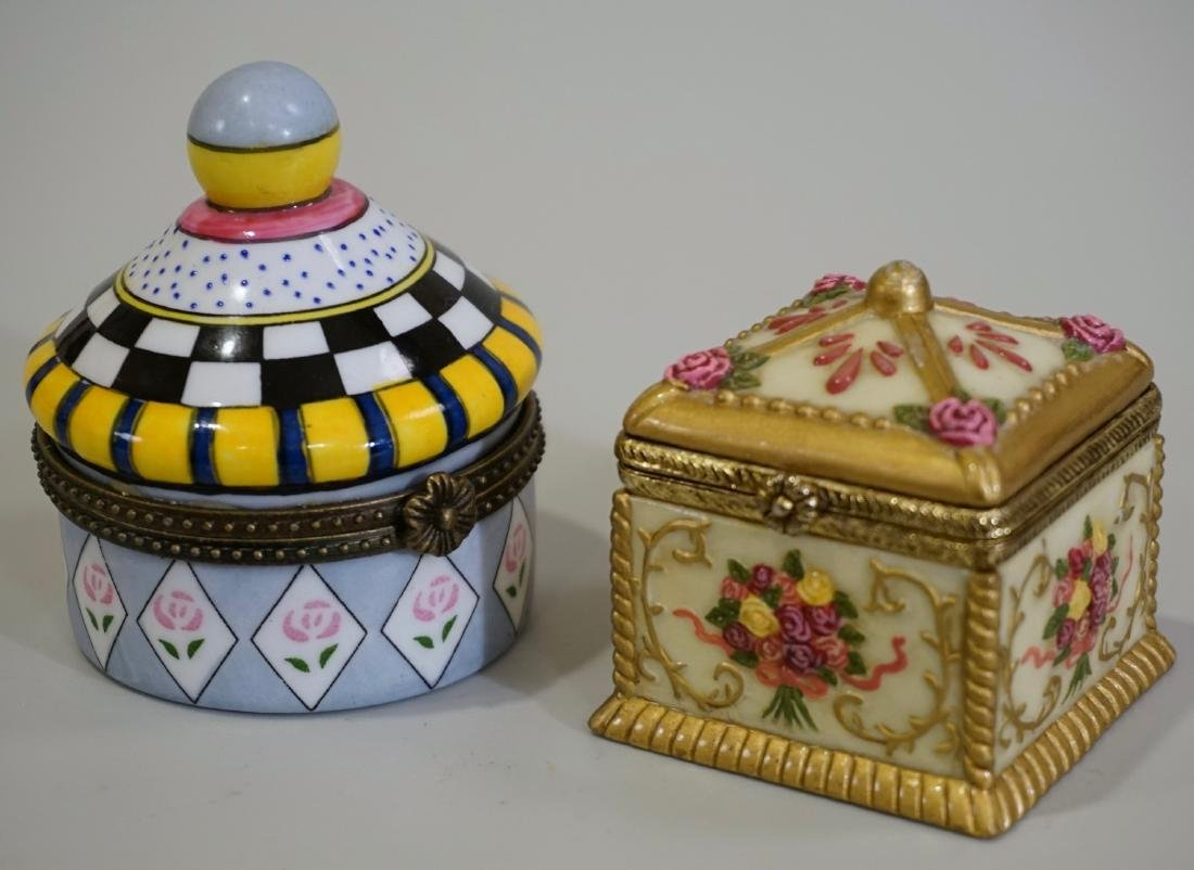 Porcelain Hinged Boxes Marked France Pill Trinket