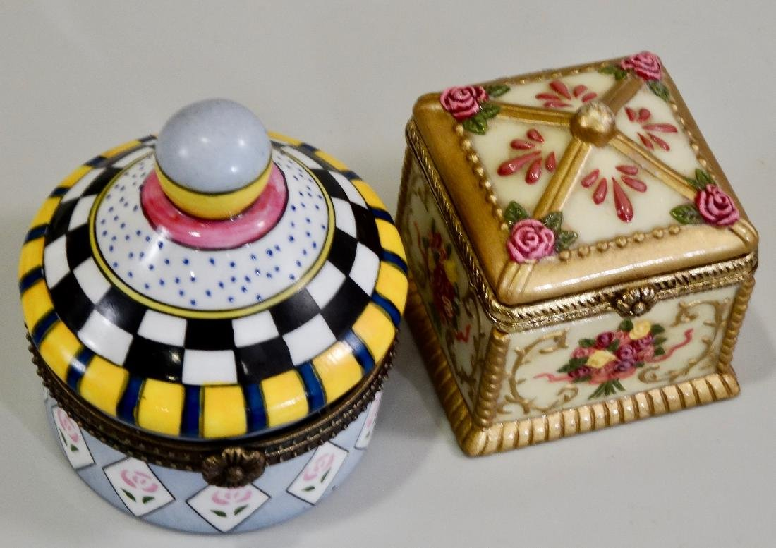Porcelain Hinged Boxes Marked France Pill Trinket - 3