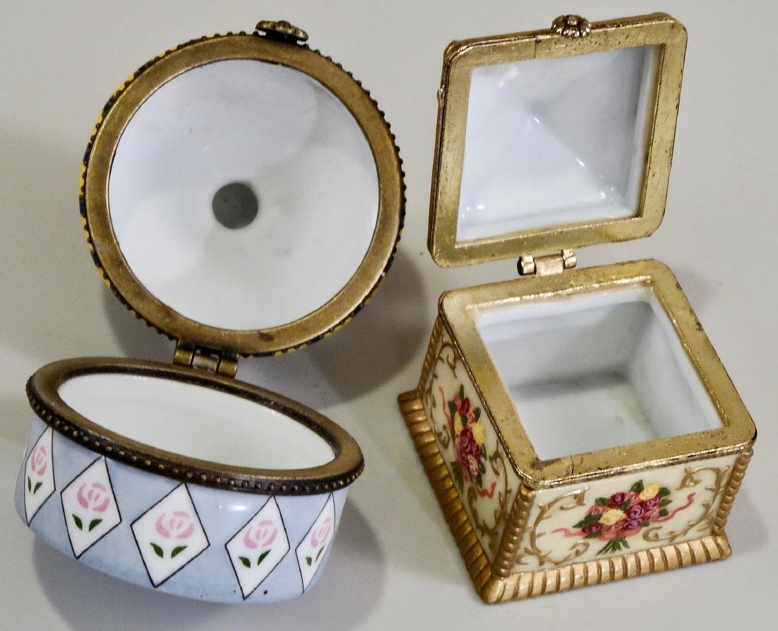 Porcelain Hinged Boxes Marked France Pill Trinket - 4