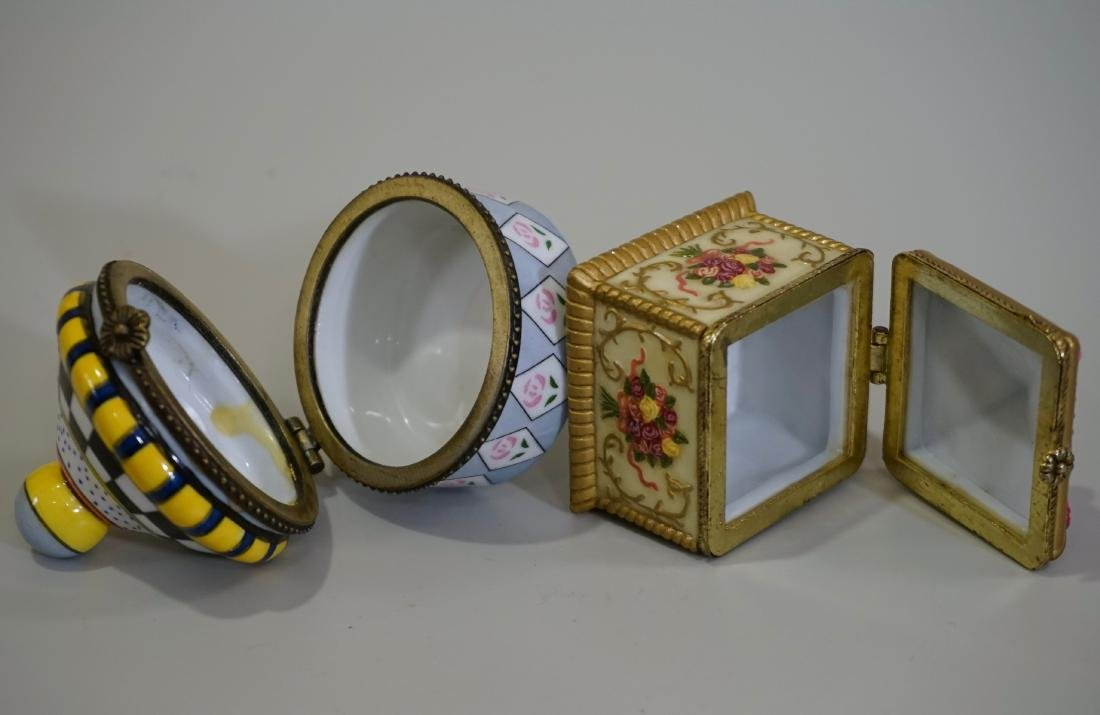 Porcelain Hinged Boxes Marked France Pill Trinket - 5