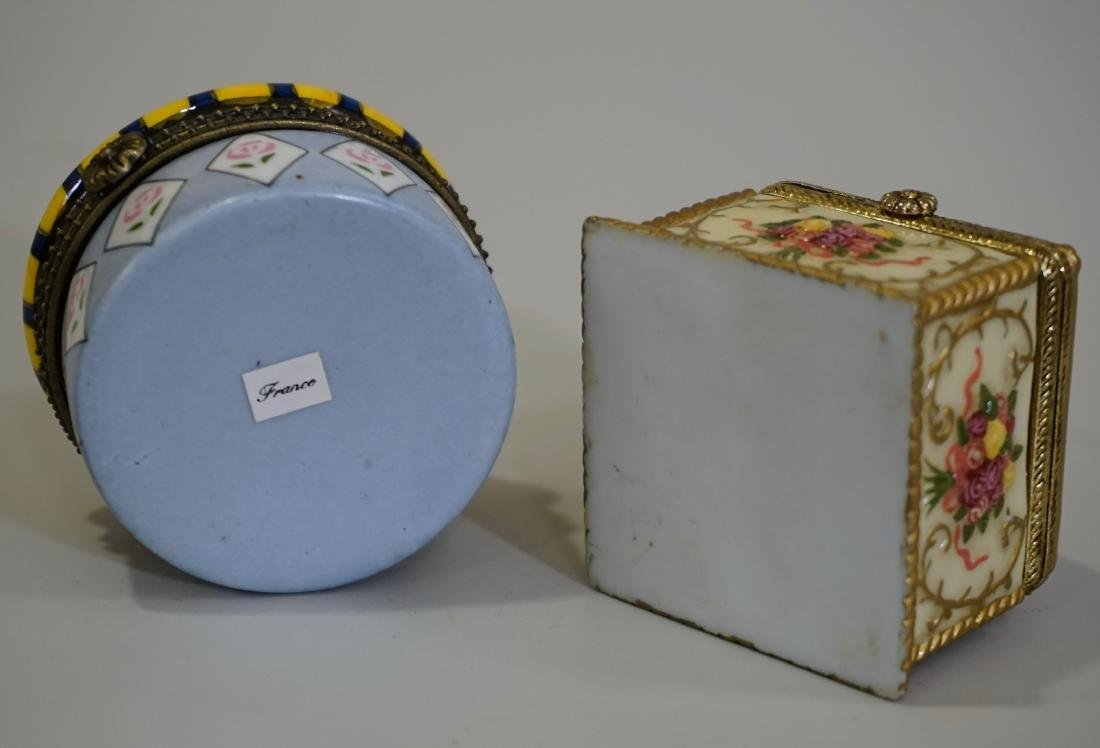 Porcelain Hinged Boxes Marked France Pill Trinket - 6