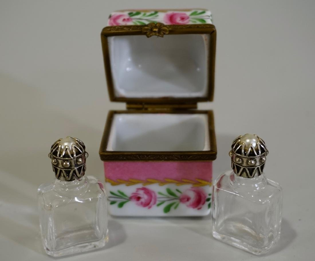 Limoges Porcelain Box France Crystal Perfume Bottles - 4