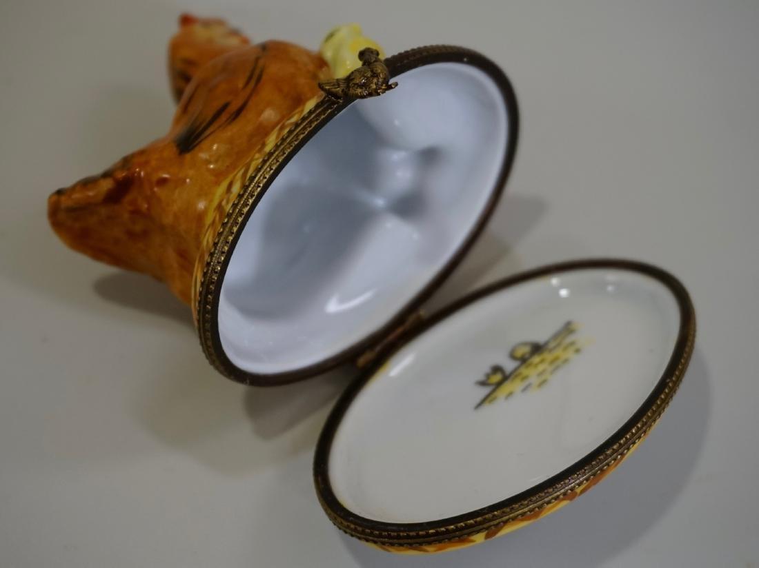 Limoges France Porcelain Figural Hen Chicken Box - 5