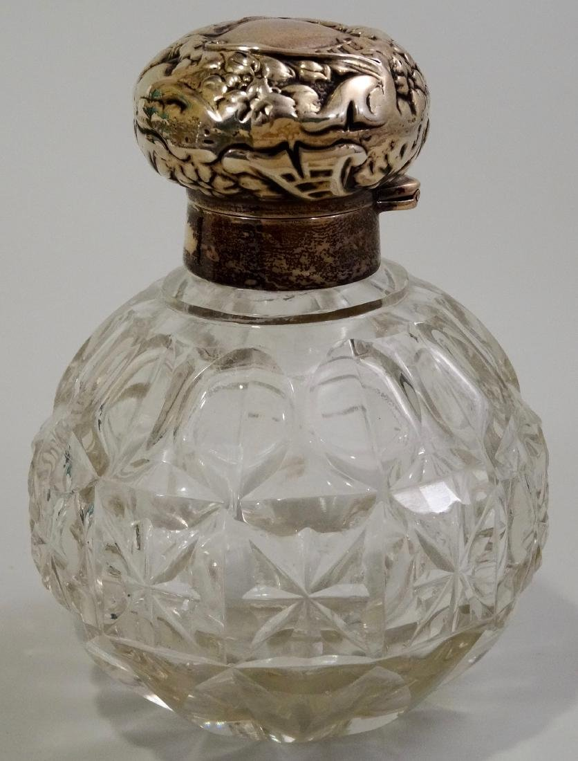 English Glass Perfume Cologne Bottle With Sterling Cap