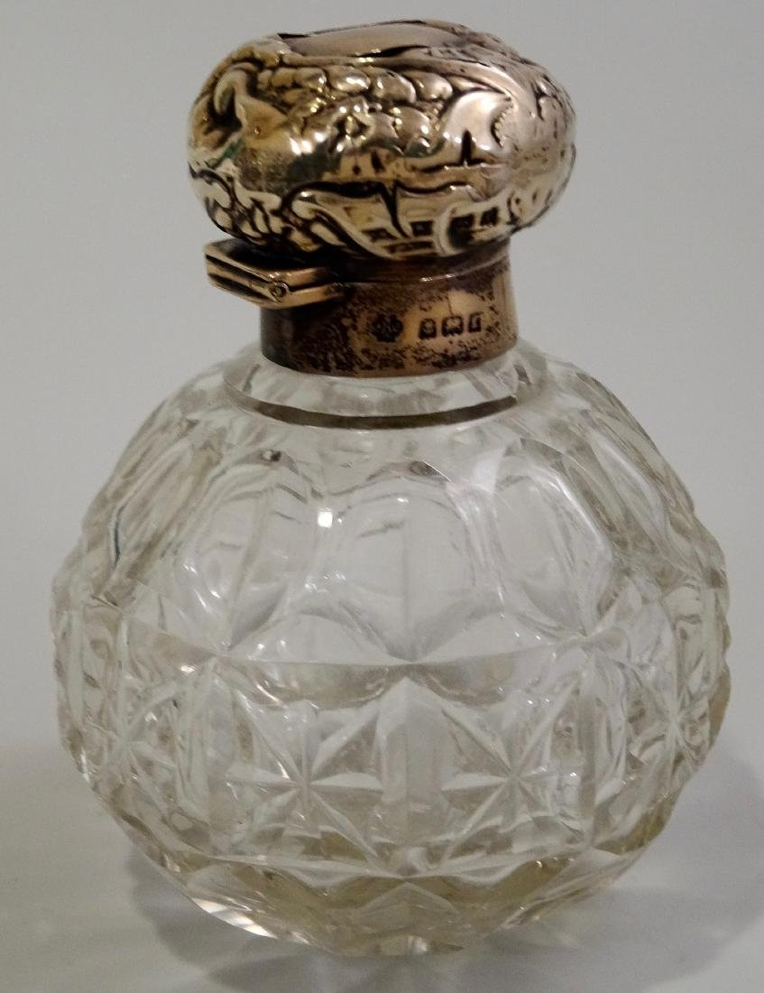 English Glass Perfume Cologne Bottle With Sterling Cap - 2