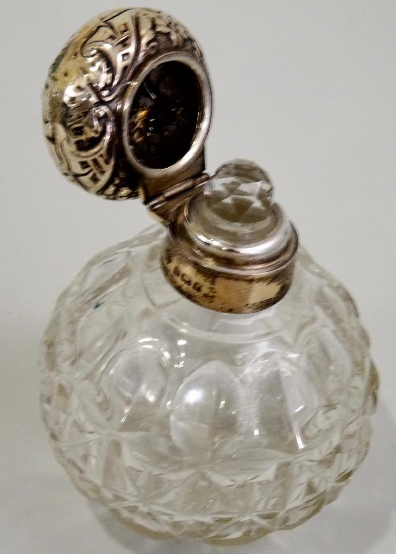 English Glass Perfume Cologne Bottle With Sterling Cap - 4