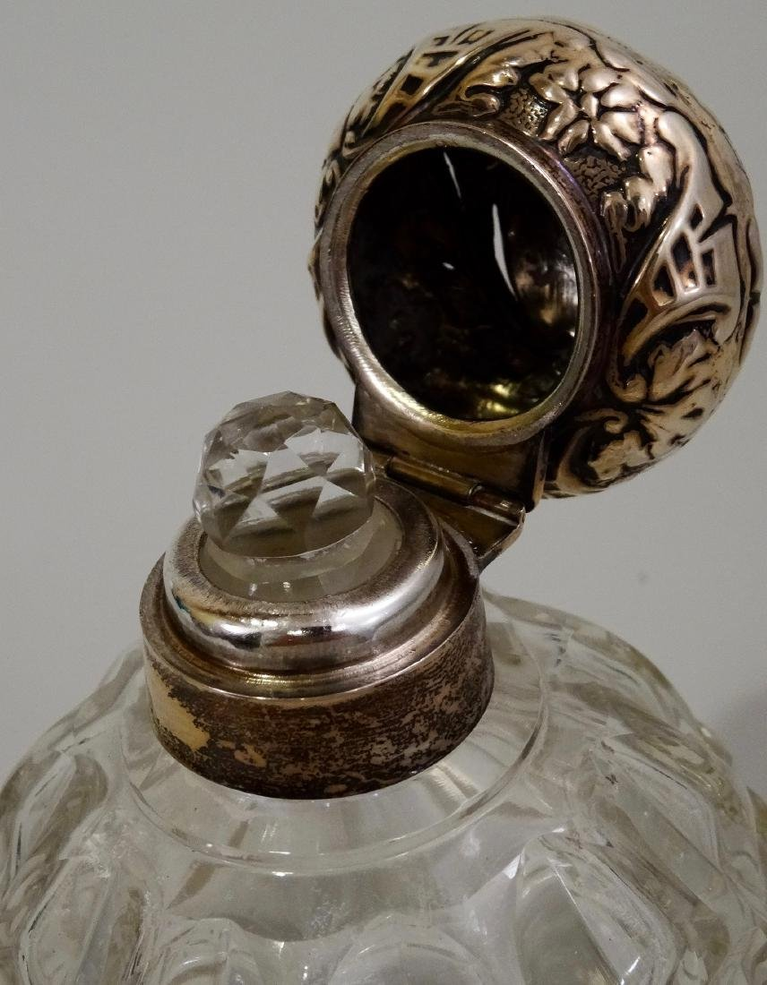 English Glass Perfume Cologne Bottle With Sterling Cap - 5