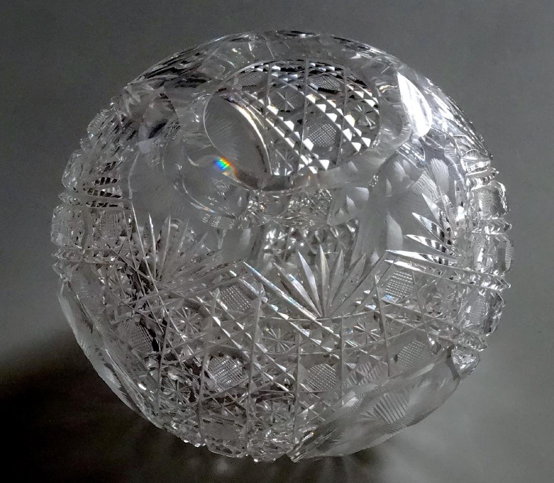 Vintage Cut Glass Ball Vase Crystal Rose Bowl - 2