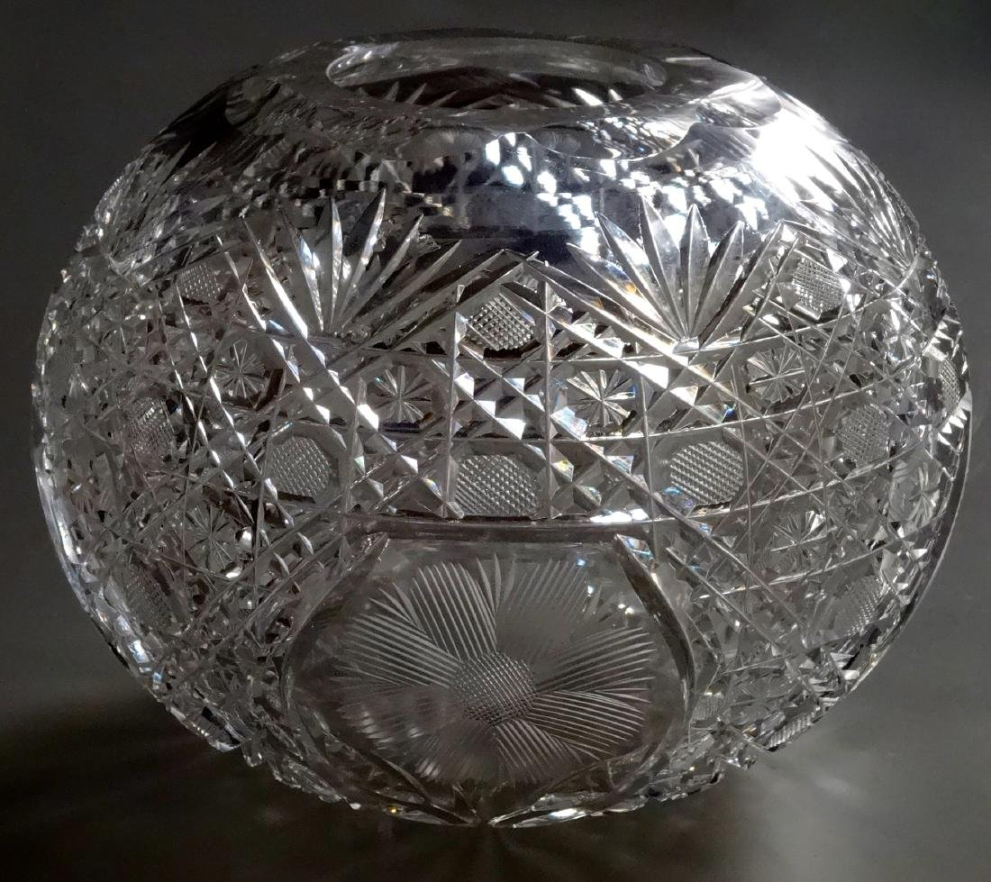 Vintage Cut Glass Ball Vase Crystal Rose Bowl - 6