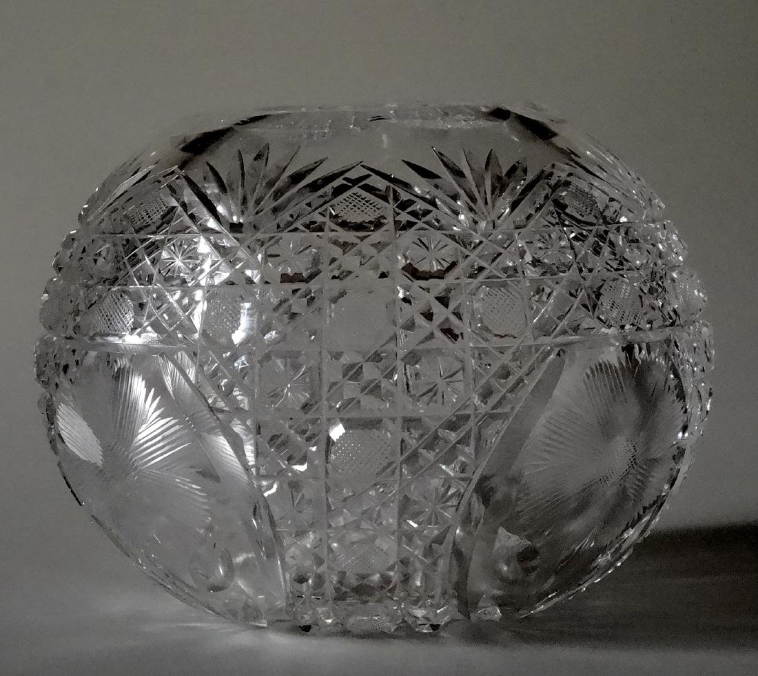 Vintage Cut Glass Ball Vase Crystal Rose Bowl - 7