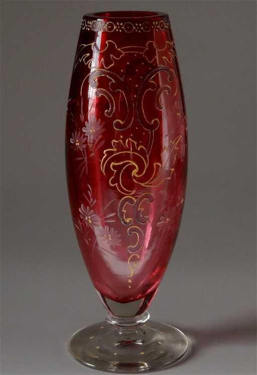 Ruby Red Antique Moser Enameled Bud Vase