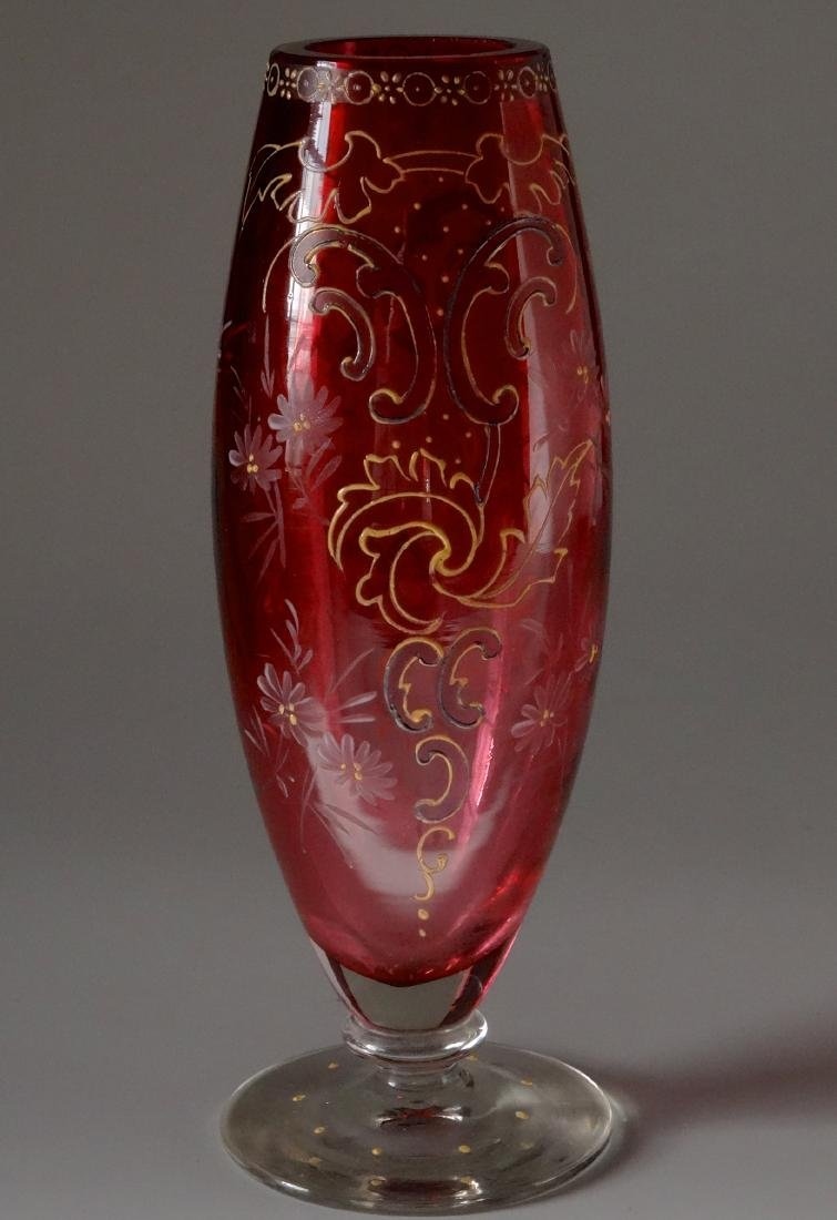 Ruby Red Antique Moser Enameled Bud Vase