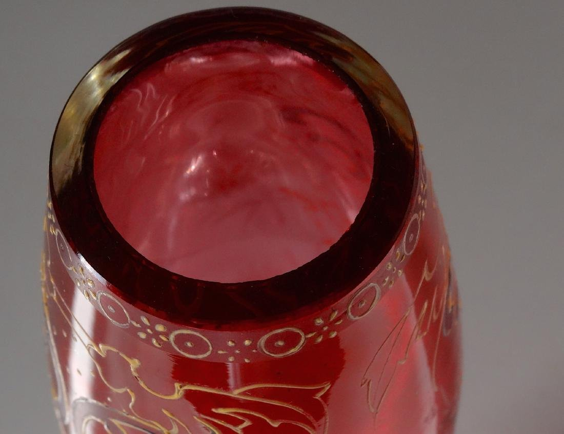 Ruby Red Antique Moser Enameled Bud Vase - 5