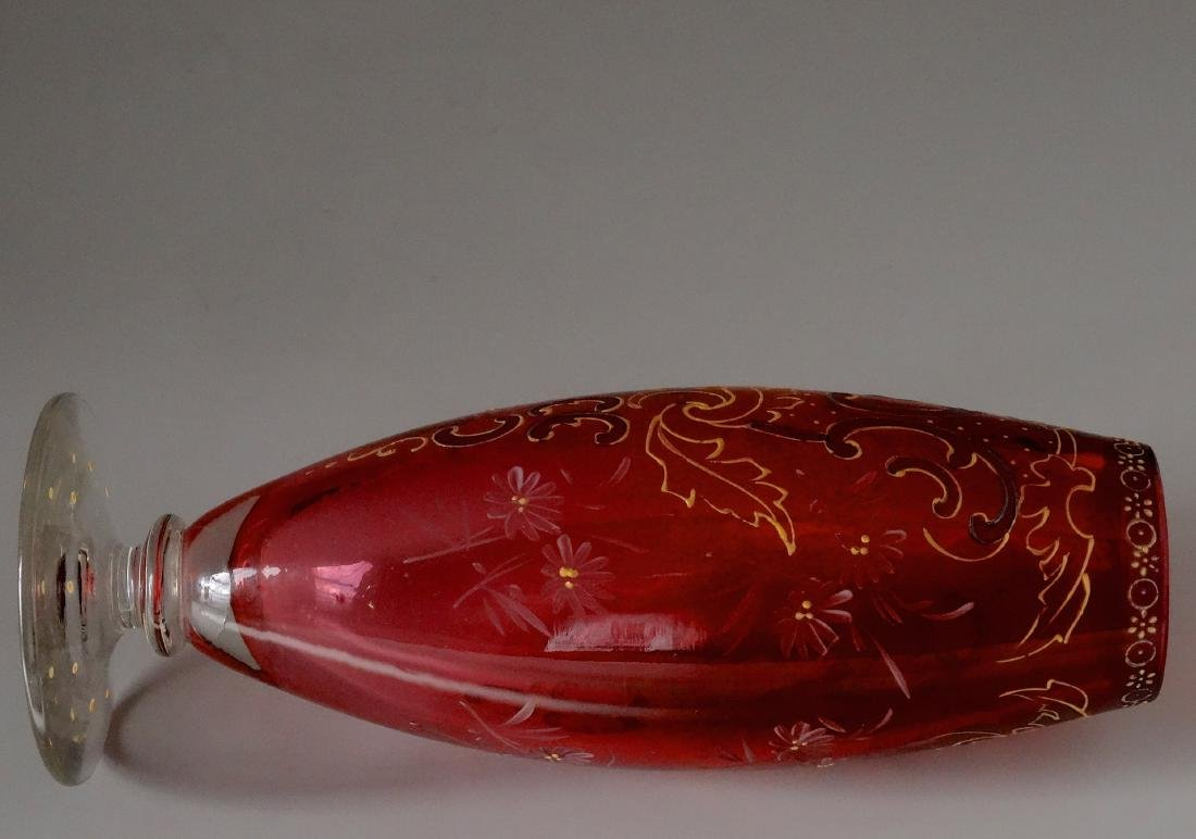 Ruby Red Antique Moser Enameled Bud Vase - 6