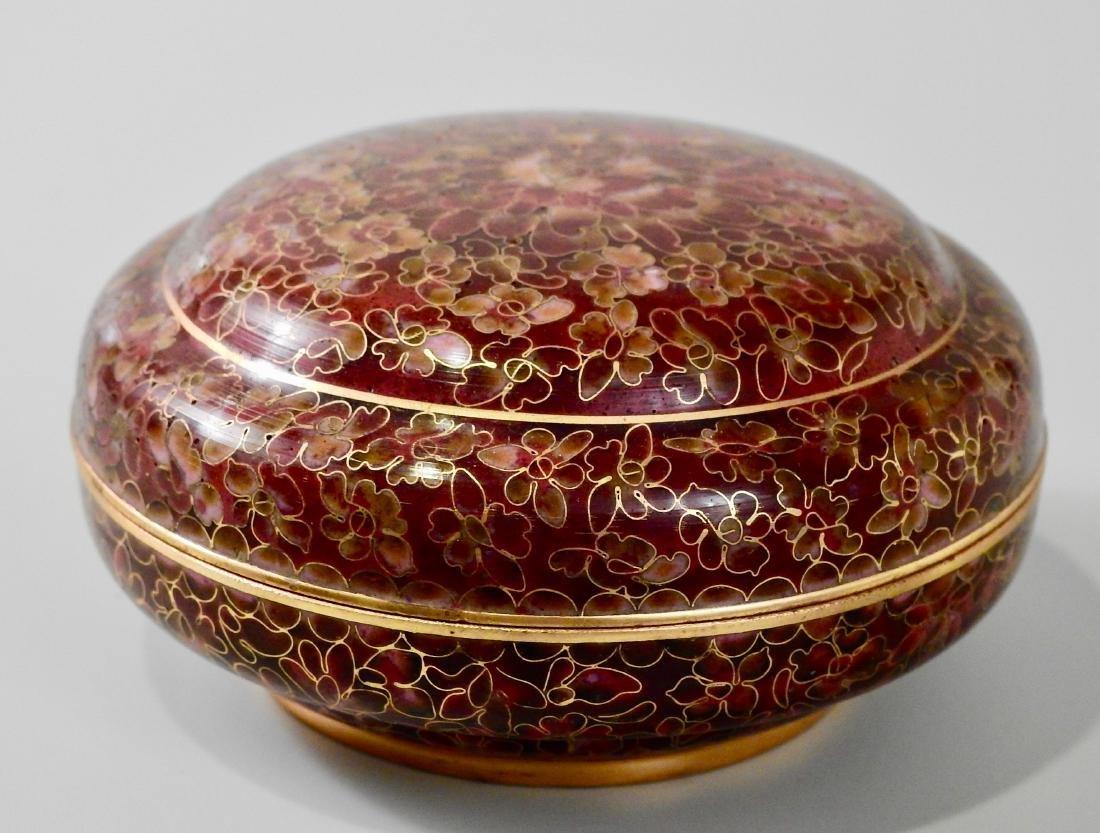 Chinese Cloisohne Enamel Round Trinket Vanity Box