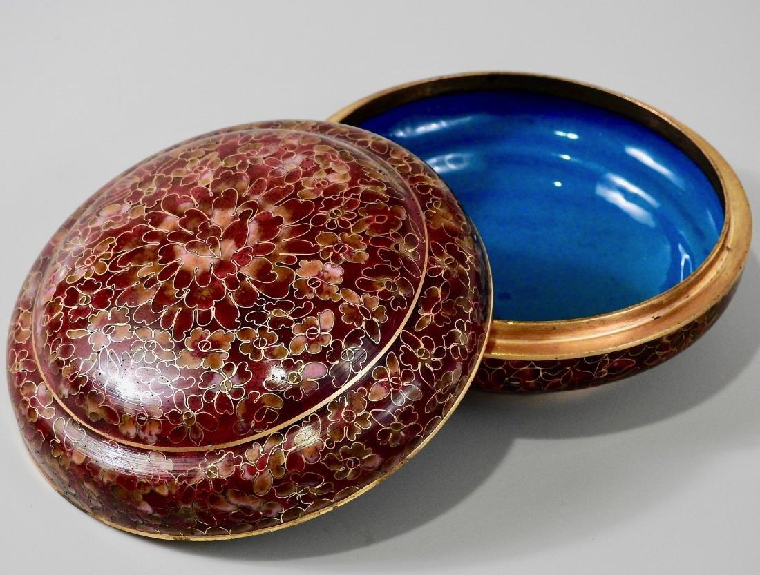 Chinese Cloisohne Enamel Round Trinket Vanity Box - 3