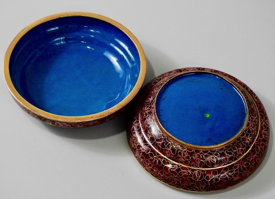 Chinese Cloisohne Enamel Round Trinket Vanity Box - 4