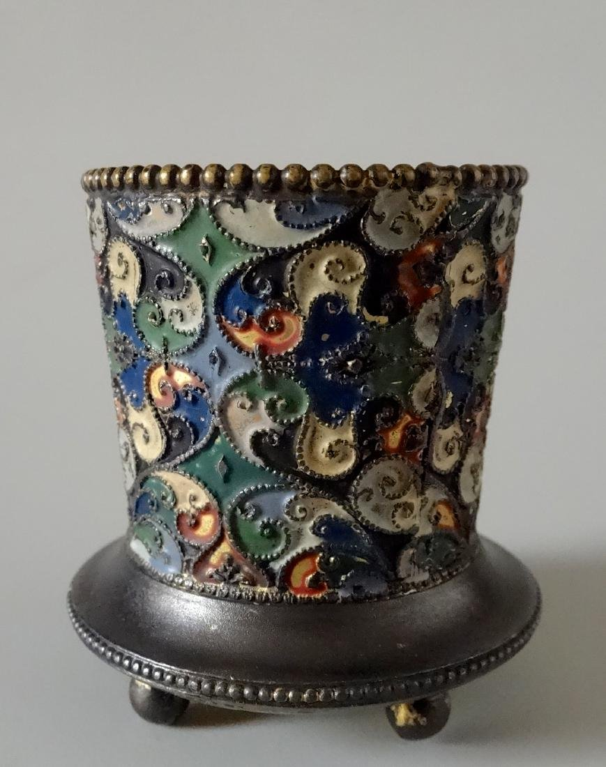 Antique Russian Style Enamel Small Vase Toothpick