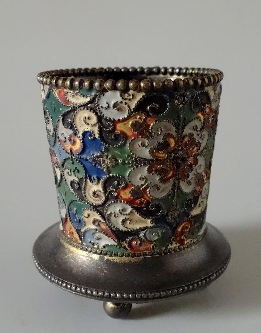 Antique Russian Style Enamel Small Vase Toothpick - 2