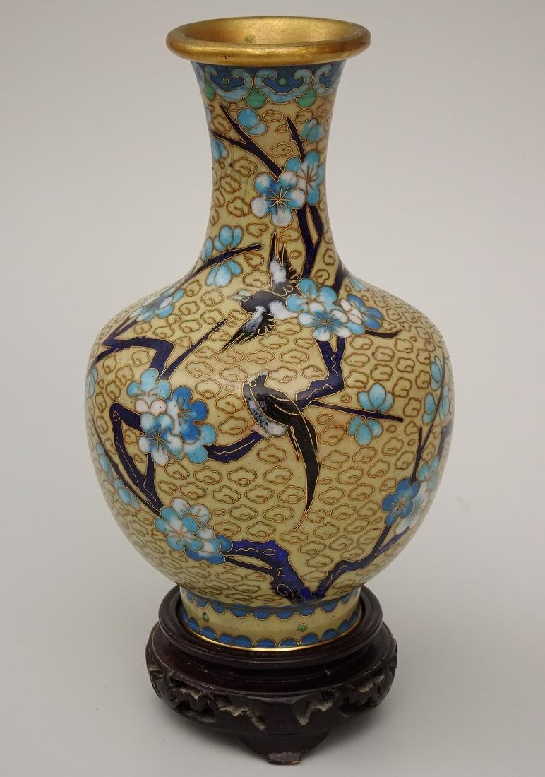 Chinese Cloisonne Enamel Yellow Vase on Wooden Stand