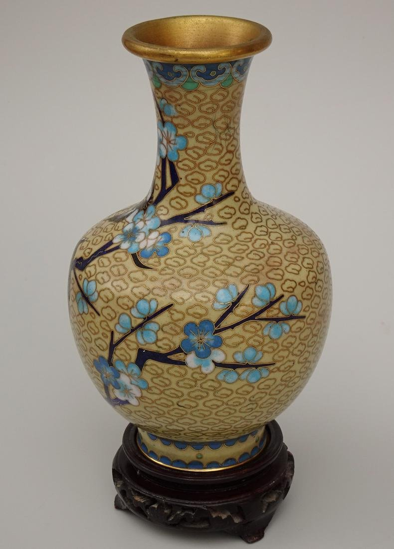 Chinese Cloisonne Enamel Yellow Vase on Wooden Stand - 2