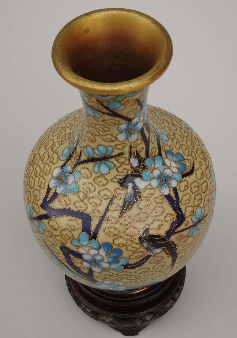 Chinese Cloisonne Enamel Yellow Vase on Wooden Stand - 4