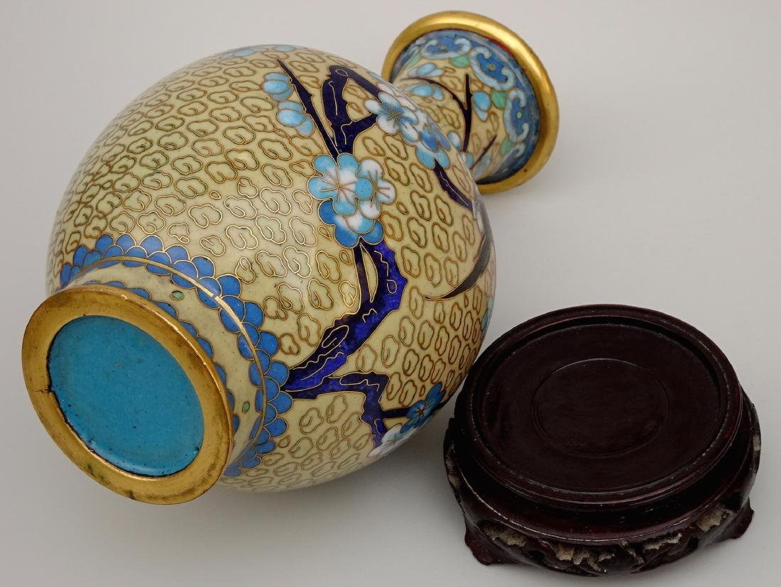 Chinese Cloisonne Enamel Yellow Vase on Wooden Stand - 5