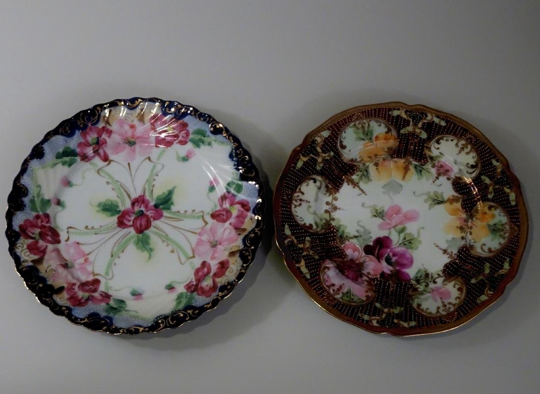 Vintage Moriage Porcelain Hand Painted Plate Lot of 2
